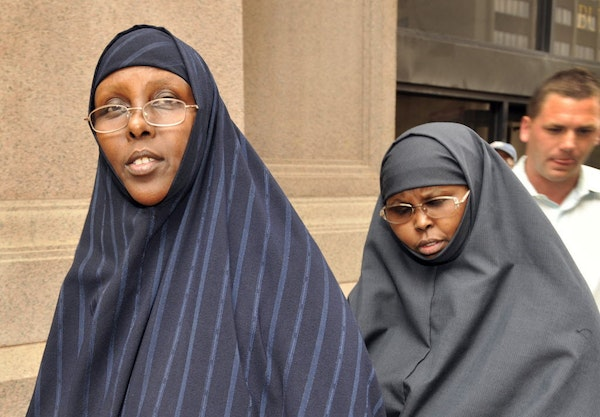 Hawo Mohamed Hassan, left, and Amina Farah Ali entering the federal courthouse during their 2011 trial.