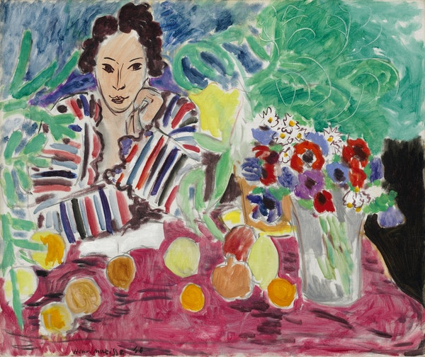 """Henri Matisse's 1940 oil painting """"Striped Robe, Fruit, and Anemones"""" will be part of the exhibition """"Matisse: Masterworks from The Baltimore Museum"""
