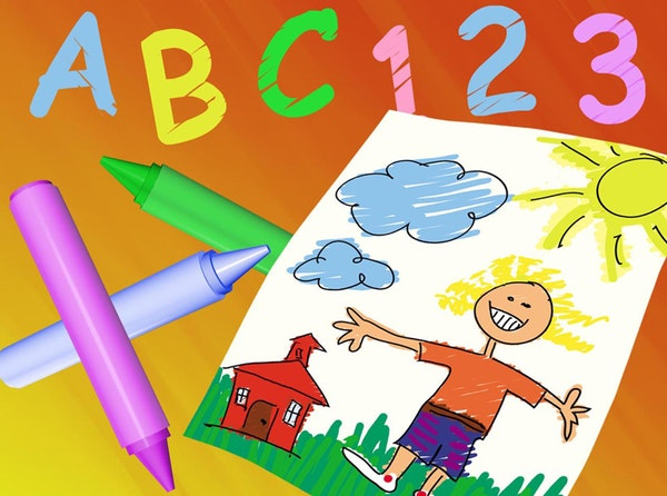 Illustration of a child's drawing.