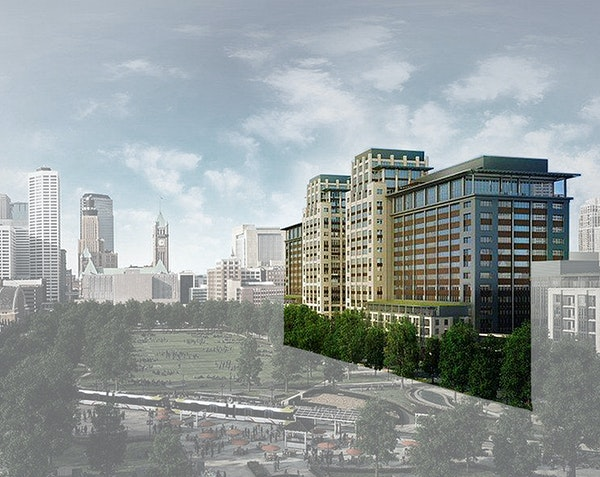 The Ryan Cos. proposal for a $400 million redevelopment project near the new Vikings Stadium would include towers that might house Wells Fargo operati