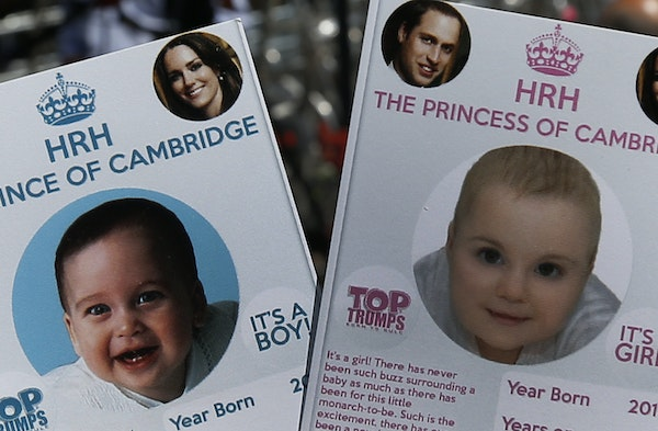 Cards depicting the 'royal baby' either as a boy or a girl, specially made by a games company as a publicity stunt are pictured.