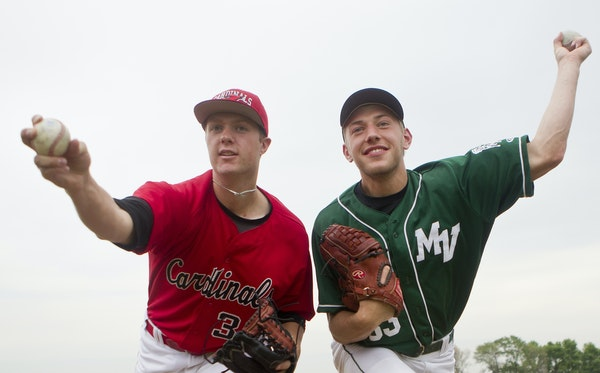 Pitchers Logan Shore, left, of Coon Rapids and Max Knutson of Mounds View High School, posed for a portrait at Coon Rapids High School. They share the