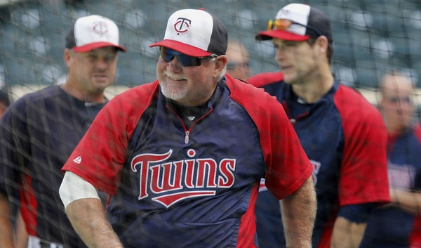 Minnesota Twins manager Ron Gardenhire (35) shown during warmups before a baseball game between the Detroit Tigers and the Minnesota Twins, Friday, Ju