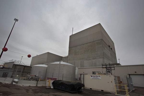The gray concrete walls of the Monticello nuclear power plant, 40 miles north of the Twin Cities.