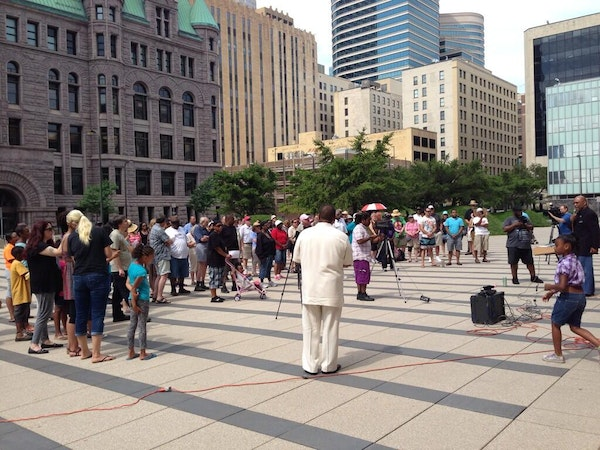 """Several dozen people gathered at the federal courthouse in Minneapolis for a """"Justice for Trayvon"""" rally on Saturday, July 20, 2013."""
