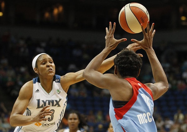 Minnesota Lynx forward Maya Moore tries to block a pass from Atlanta Dream guard Angel McCoughtry in the first half of a WNBA game Tuesday, July 9, 20