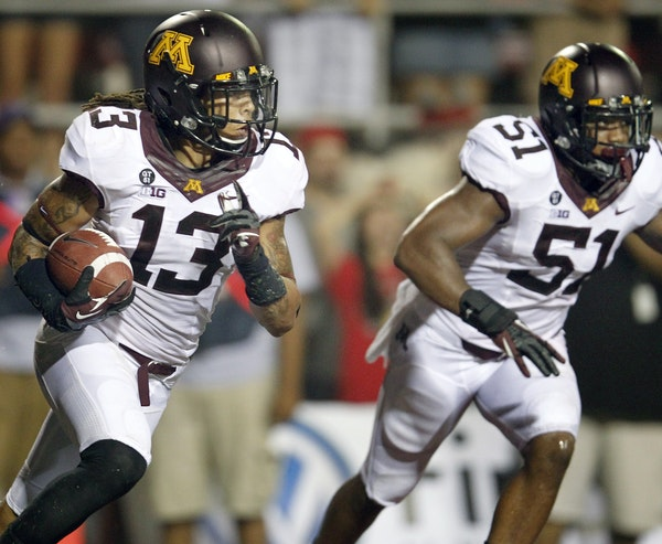 Derrick Wells (13) started the 2012 Gophers football season with a bang, intercepting two passes against UNLV.