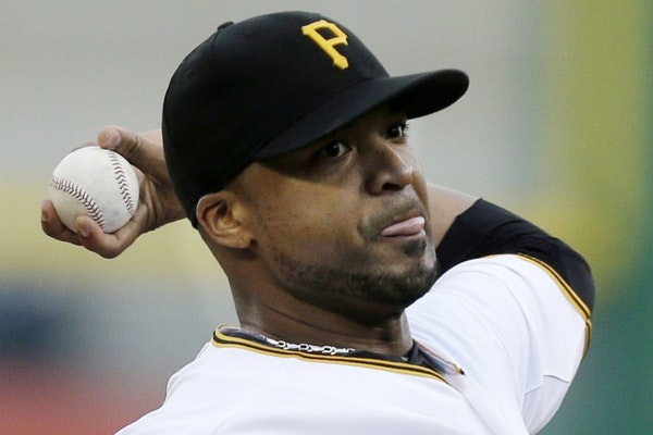 Pittsburgh Pirates starting pitcher Francisco Liriano delivers during the first inning of a baseball game against the St. Louis Cardinals in Pittsburg