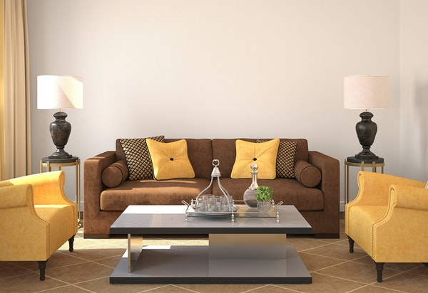 Symmetrical pieces and groupings of comparable visual weight give this room a balanced look.