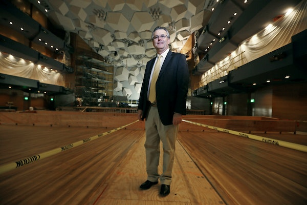 Michael Henson, CEO for the Minnesota Orchestra, posed for a portrait at Orchestra Hall in Minneapolis in March.