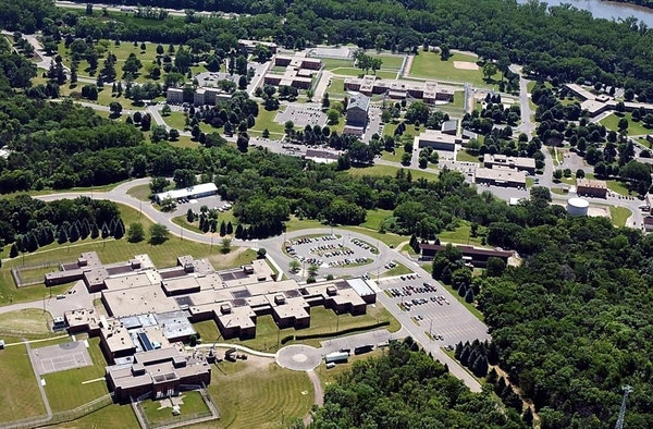 In this May, 2008 aerial photo, the Minnesota Security Hospital complex, lower left, is shown in St. Peter, Minn.