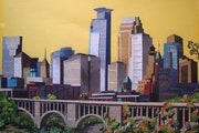 "Artwork, - "" Minneapolis skyline"" by paper artist Raju Lamichhane, of Hopkins, Minn."