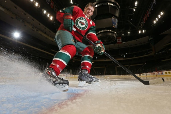 """Ryan Suter likes to hit the brakes when a situation gets hectic. """"I try to slow it down where I sit back and don't run out of position,"""" he said"""