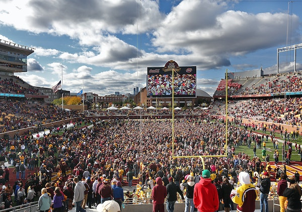 Fans stormed the field after the Gophers 34-23 victory over Nebraska.