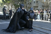 Miles Scott, dressed as Batkid, just before saving a damsel in distress on Friday in San Francisco.