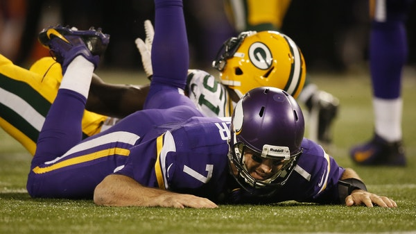 Vikings quarterback Christian Ponder found himself on the turf on the final drive of the game.