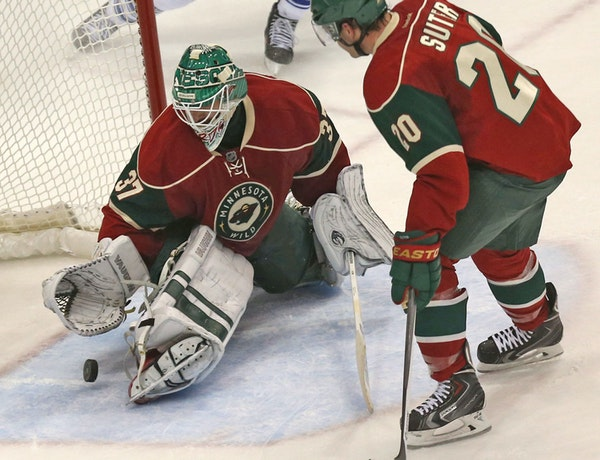 Wild's goalie Josh Harding made a save during the third period at the Xcel Energy Center in St. Paul, Min., Wednesday, November 13, 2013. The Wild won
