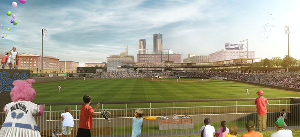 A rendering of the outfield view of the new Lowertown Ballpark, with the St. Paul skyline as the backdrop.