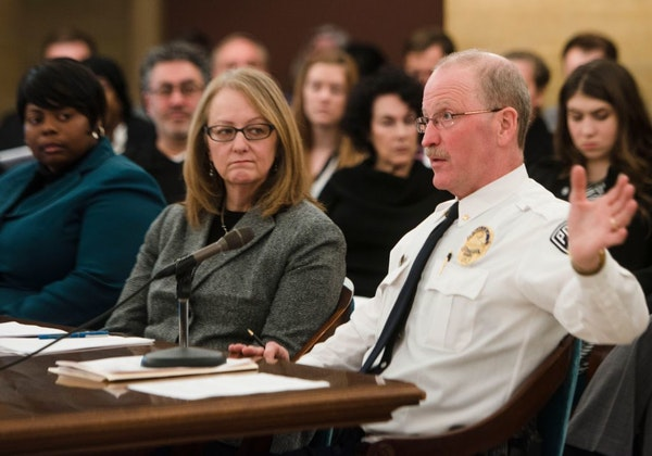 University of Minnesota Police Chief Greg Hestness testifies at a Minnesota Senate higher education committee meeting about metro campus safety at the