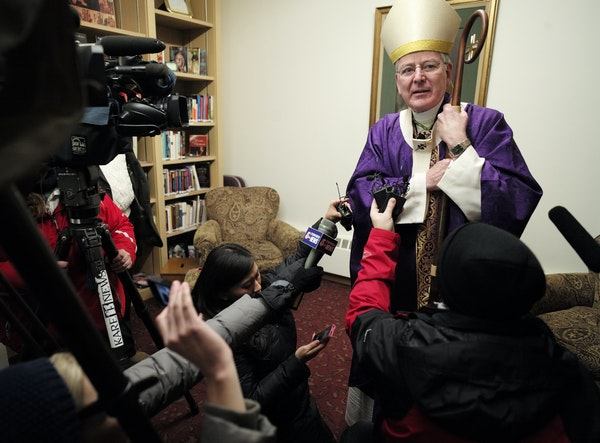 Between masses at Our Lady of Grace Church in Edina, Archbishop John Nienstedt spoke directly to the media for the first time in months.