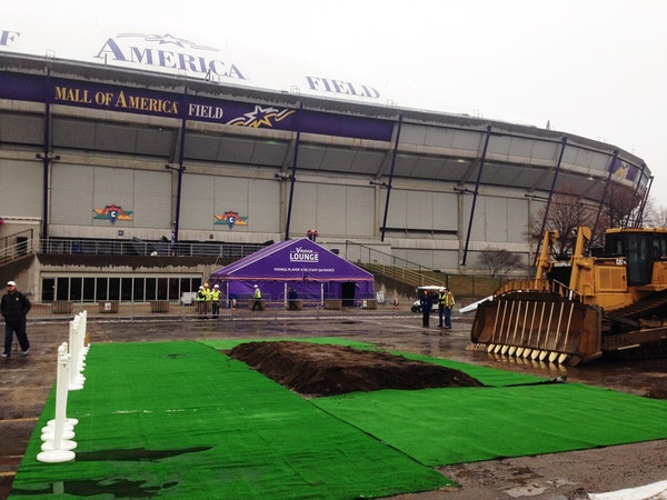 The Vikings stadium groundbreaking is set for 10 a.m. Tuesday.