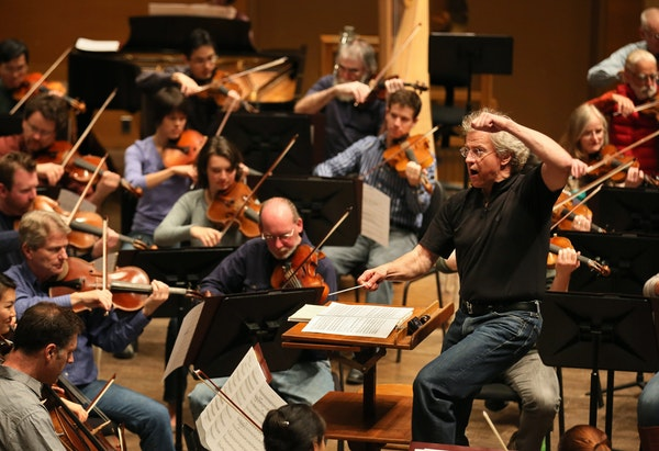Members of the Minnesota Orchestra, led by Osmo Vanska, practiced at Orchestra Hall in 2012.