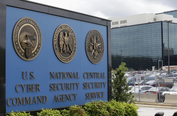 FILE - This June 6, 2013, file photo shows the sign outside the National Security Agency campus in Fort Meade, Md. A presidential advisory panel has r