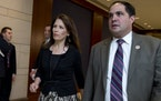 Javier Sanchez, at the time an aide to Rep. Michele Bachmann, arrives with her for a closed all-member briefing on the NSA on Capitol Hill in Washingt