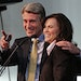 (left to right) Former Minneapolis Mayor R.T. Rybak and new mayor Betsy Hodges tstood on stage, after she took the oath during her first swearing in c