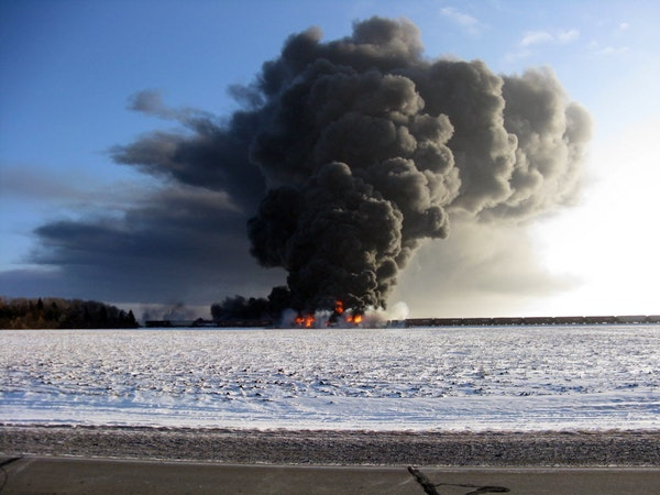 This photo provided by Cass County Commissioner Ken Pawluk shows a train derailment and fire west of Casselton, N.D., Monday, Dec. 30, 2013.