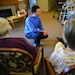 Chaplain Alex Treitler worshiped with a small group at Emerald Crest in Burnsville on a recent Monday. Treitler helped design the services for people