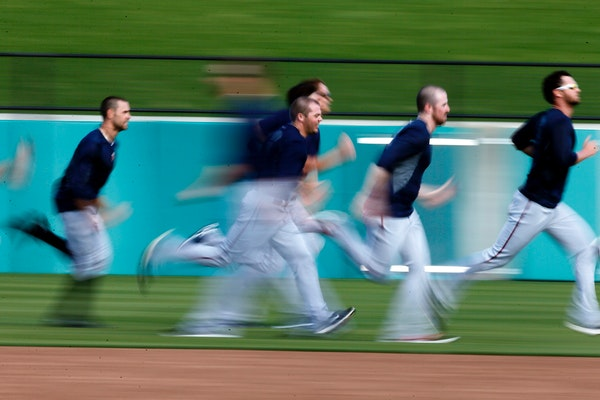 Twins pitcher ran sprints after practice Thursday Feb 20. 2014 in Fort Myers, Florida at Lee County Sports Complex.