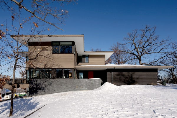 Kyle and Katie Pederson's new contemporary-style home designed by Architect John Dwyer.