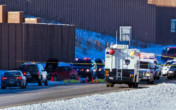 The scene of a high speed car chase that ended in shots fired in Chanhassen, Minn., on Thursday, February 7, 2014.