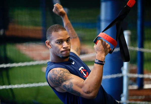 Byron Buxton worked on strength and conditioning drills during a workout at Norcross Sports Training Academy January 14 , 2014 near Atlanta, GA.