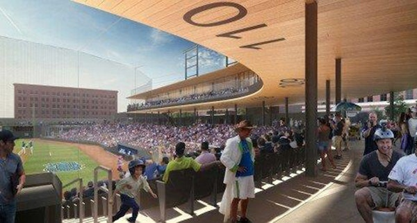 The concourse of the future St. Paul Saints ballpark, set to be finished by May 2015.