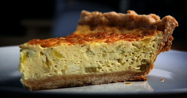 Pastry chef Amy Kelsch prepared quiche, made with feta, leeks and lemon.