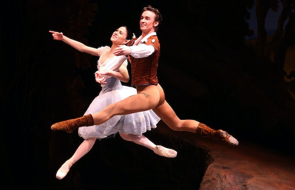 Paloma Herrera, playing Giselle a and Jared Agoudine playing Count Albrecht leaped through the air during the first act of Giselle.