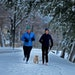 Martha Brand, left, and Beth Dooley didn't let the April snow get to them for a run with Dooley's dog Charlie around Lake of the Isles, Thursday, Apri