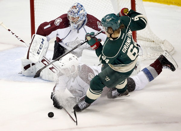Mikael Granlund attempted a shot on Colorado goalie Semyon Varlamov in the first period of Game 4. One big reason the Wild pulled out victories in Gam