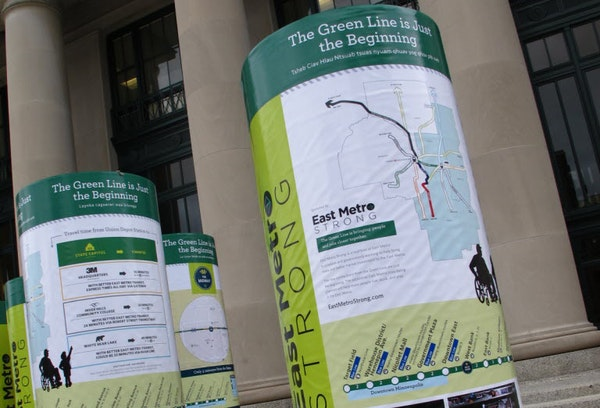 June 12, 2014: Nine kiosks like these will be placed at nine light-rail stations on the new Green Line. The aim is to alert riders about access to nea