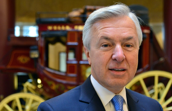 John Stumpf, Wells Fargo CEO, was in Minneapolis for the Tuesday groundbreaking for the new office project near the Vikings stadium.