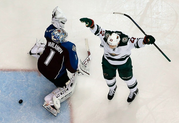 When last we saw the Wild and Colorado Avalanhce, Nino Niederreiter, right, was celebrating after beating goalie Semyon Varlamov in overtime in Game 7
