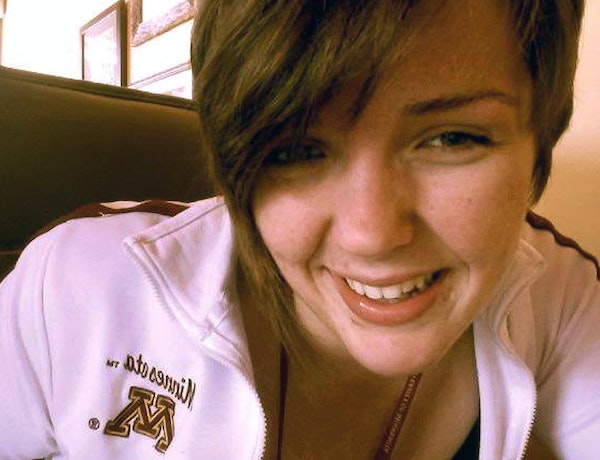 Anarae Schunk, 20. (This photo was likely taken in a mirror, reversing the Minnesota logo.)