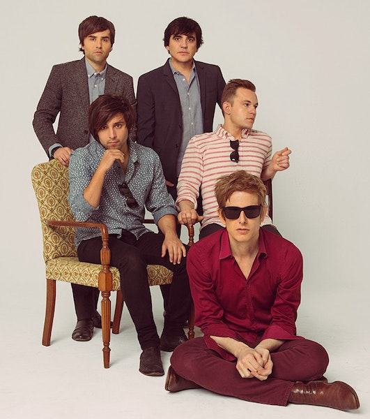 """""""We were excited to be playing together again,"""" says Jim Eno (standing at right) of Spoon's new disc."""