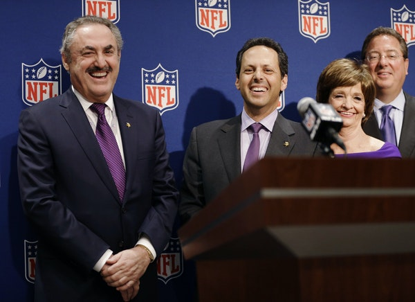 Tuesday was a jubilant day for Vikings owners Zygi Wilf, left, and Mark Wilf, center, along with bid committee co-chair Marilyn Carlson Nelson and Vik