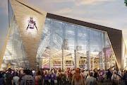 Architect rendering of new Vikings Stadium.
