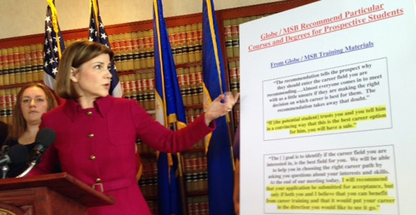 Attorney General Lori Swanson at a July news conference. Standing to her side is Crystal Steffens, 26, of Coon Rapids, who said she was misled by the
