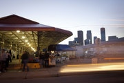 The Minneapolis Farmers Market stands in front of the Minneapolis skyline. United Properties, owned by the Pohlad family, said it has strong interest