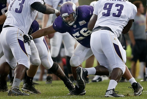Vikings rookie guard David Yankey (66) is working on his technique after missing most OTAs.